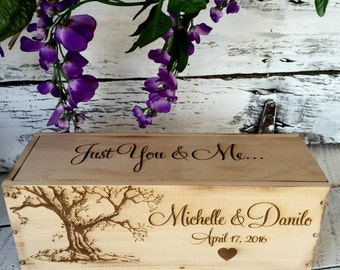 Wedding Wine Box, Rustic Wedding Wine Box, Wedding Gift, Birthday Gift, Love Letter Ceremony Wine Box
