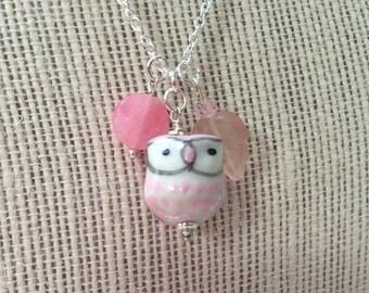 Ceramic Owl with Gemstones Necklace