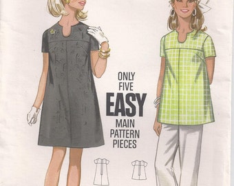 Maternity Dress Or Top A Line With Front And Back Yoke Shaped Neckline Short Sleeves Size 12 Vintage Sewing Pattern Butterick 5253