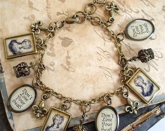 SALE - Marie Antoinette Charm Bracelet in Brass - Crowns Fleur De Lis and Guillotine - Don't Lose Your Head