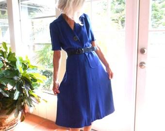 Vintage Eleanor Day shirtwaist dress 1940's retro collectible nostalgic mid century: medium, large