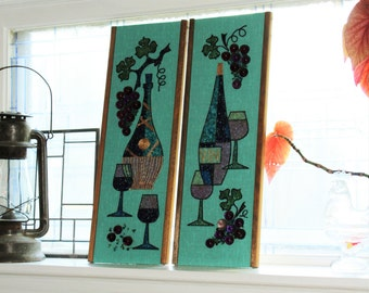 Vintage 1960s Mod Wall Hangings Pair Wine and Grapes Crushed Stone and Glass Mid Century