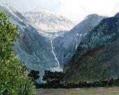 Watercolor ORIGINAL -On the Way to Telluride - Colorado, ski, resort, mountain, snow