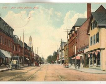 Vintage Postcard, Melrose, Massachusetts, Main Street, 1907