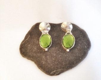 Emerald Green Earrings - Large Stone Earrings - Large Green Earrings