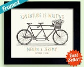 Adventure Awaits Gift for Couple Personalized Wedding Gift Engagement Gift Bicycle for Two Framed Art Print Tandem Bike Newlywed Gift