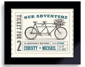 Personalized Wedding Bicycle Built for Two Wedding Ticket Unique Engagement Gift Wedding Adventure Decor Unique Wedding Gift for Couples