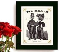 Unique Wedding Gift for Couples Personalized Art Print Day of the Dead Tattoo Couple Anniversary Gift I Love You to Death Skull Goth