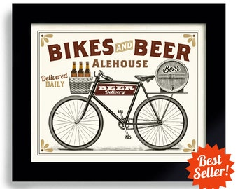 Bicycle Art Vintage Biker Poster Bicyclist Art Cycling Art Beer Sign Bike Rider Beer Gift Bar Decor