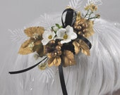 Holiday/Steampunk Fascinator with gold leaves and berries, white flowers, and black ribbon OOAK