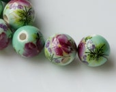 """10 mm Flower  """"Chinese Painting"""" Porcelain Beads (.ai)"""