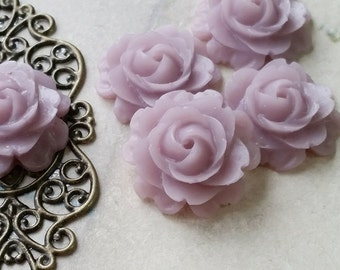 21 mm Clematis Colour Cabbage Rose Resin Flower Cabochons (.su)(ZZB)