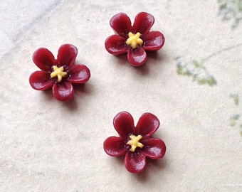 13 mm Umber red Colour Water Melon Resin Flower Cabochons (.sg)(zzb)