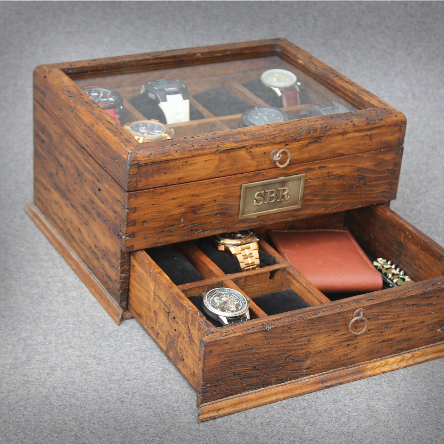 Personalized rustic men 39 s watch box for 12 by for Men s valet box