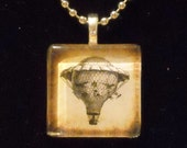 Funky Sepia (Steampunk) Balloon Glass Tile Necklace