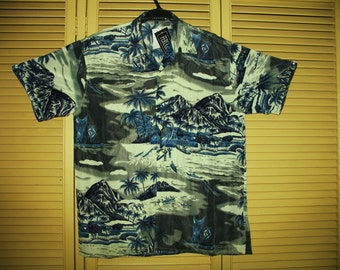 Amazing Vintage Hawaiian Shirt Blue Tropical Islands Size M-XL Polyester Very Collectible NOS