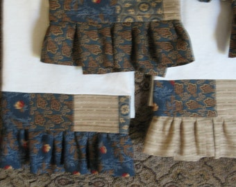 Patchwork Ruffled Tea Towels Browns Blues and Muslin Set of Six Free Shipping