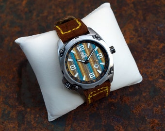 Gifts for DADS - Limited Edition - Recycled Skateboard Watch - Second Shot Skate Watch