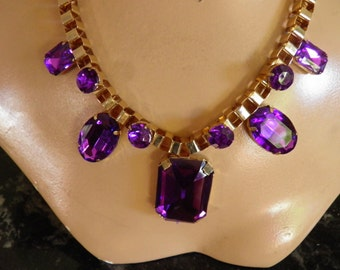 Vivid Purple Bold Old Hollywood Necklace.