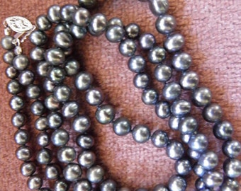 Opera Length Black Genuine Pearls, Silver Filigree Clasp
