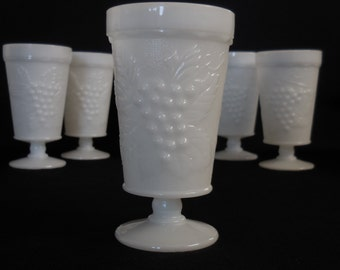 Vintage Milk Glass Iced Tea Goblet, Grape Design, Pressed Glass