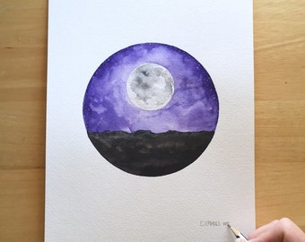 Desert Moonlight - 9x12 Watercolor Painting on Paper