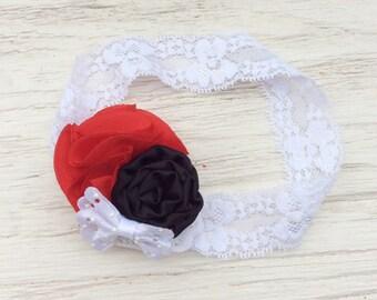 Red white black baby girl headband toddler headband flower headband matilda jane m2m flower infant newborn headband