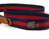 Vintage 80s Lacoste Izod Belt 21001 Blue and Red Stretch Tan Brown Leather Solid Brass Belt 38/95 Totally Awesome