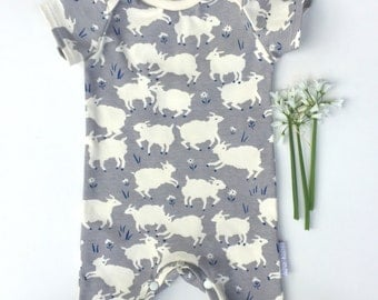 Organic cotton summer baby romper in 'Lambs'