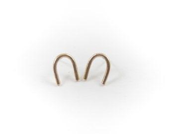 Arc Studs    Minimal Gold Stud Earrings