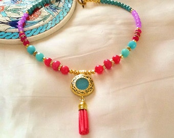 Bohemian gypsy turquoise pendant necklace , jade and turquoise beaded necklace , gemstone necklace with tassel