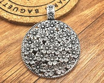 3pcs Antique Silver Large Round Flower Charm Pendant 45mm DIY Jewelry Accessories M509-3