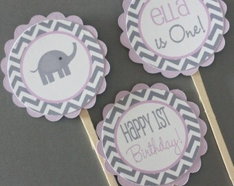 12 Lavender Grey Chevron Elephant Birthday Cupcake or Cake Toppers - Ask About our Party Pack Sale - Free Ship Over 65.00