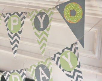 Happy Birthday Pennant Flag Green & Grey Chevron Donut Sweets Dessert Theme Banner - Ask About Our Party Pack Specials