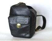 Vintage Leather Backpack - Medium Sling Bag - Black 1990s Single Strap Pack