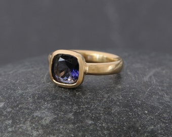 18K Gold Iolite Ring Size 6.75 -  Cushion Cut Iolite Ring - Blue Gemstone Gold Ring - Blue Gem Solitaire Gold Ring - FREE SHIPPING