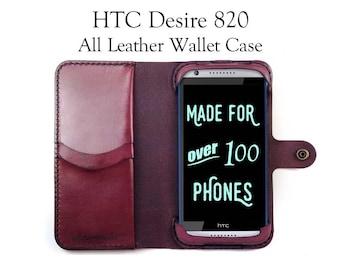 HTC Desire 820 Leather Wallet Case - No Plastic - Free Inscription