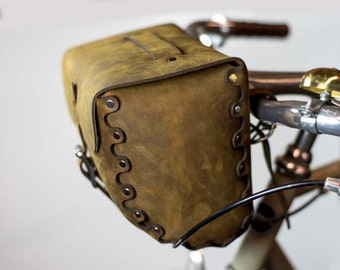 Leather Bicycle Bag, Handlebar Bag, Seat Bag, Saddle Bag, Full Grain