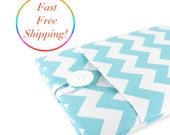 Laptop Case, Computer Case, Laptop Sleeve, Macbook Pro Case, Macbook Air Case, 15.6 Laptop Sleeve, Laptop Accessories - White Aqua Chevron.