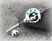 Cat Necklace / Crescent Moon Necklace / Cat Lover Gifts / Cat Memorial Jewelry / Cat Jewelry / Key to my Heart Necklace / Skeleton Key