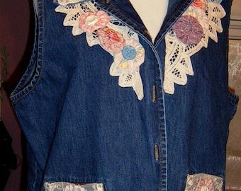 Altered, Denim Vest, Ladies Vest, Boho, Yo Yo Trim, Embellish Vintage Vest