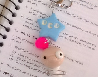 OCD Mental Patient Keychain Charm Polymer Clay Psychology Medication Gift Ooak Obsessive Compulsive Mental Health