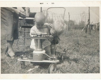 Moms Watching Stroller siblings playing  snapshot portrait vernacular photography found photo social realism