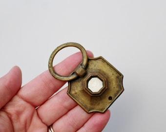 Vintage Brass Ring Drawer Pull Handle - Albolone Shell Detail Furniture Hardware Restoration - Brass Salvage