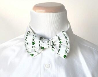 MEN'S BOW TIE - Green Saint Patrick's Day Clip On Bow Tie for Men or Boys - Kiss Me I'm Irish
