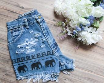 Elephant Denim Shorts Hand Painted Tribal Aztec Waves Vintage Distressed High Waisted Denim