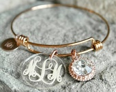 Monogrammed Bracelet - Custom Charm Bracelet - Bridesmaid Gift - Valentine's Bracelet - Monogram Charm Bracelet - Custom Sister Gift