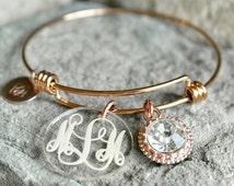 Monogrammed Bracelet - Custom Charm Bracelet - Bridesmaid Gift - Graduation Gift - Monogram Charm Bracelet - Personalized Sister Gift