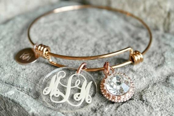 monogram charm gold bracelet