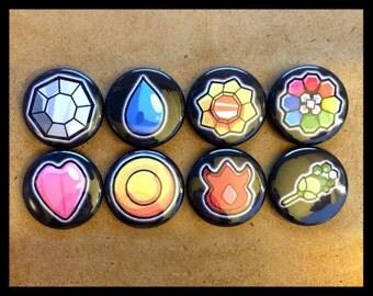 Pokemon Kanto Badges Button Pinback Set